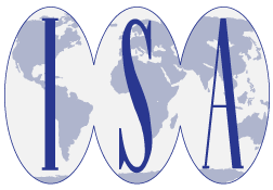 Blue world map with the text ISA superimposed over map secitons.
